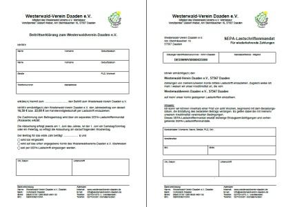 Beitrittsformular und Sepa-LM
